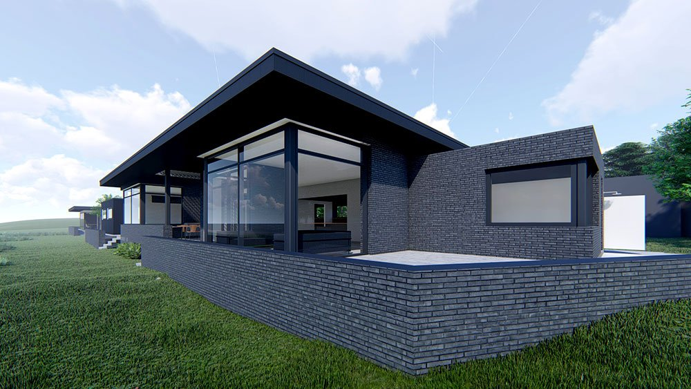 Arkitekttegnet-Sommerhus-med-havudsigt-sorte-mursten
